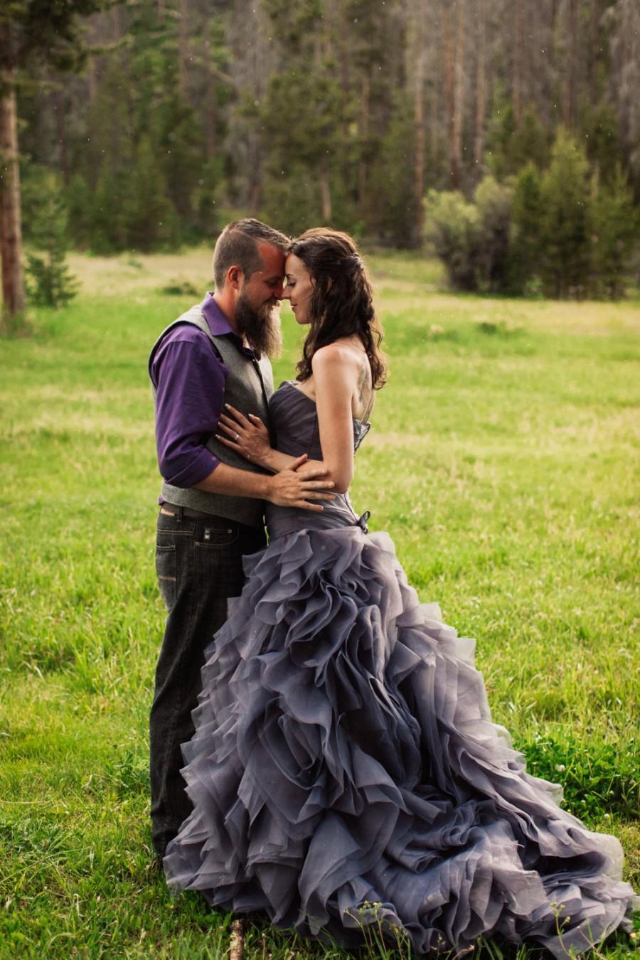Mariage - Gray Wedding Dress Sweetheart Neckline Pleated Organza Asymmetrical