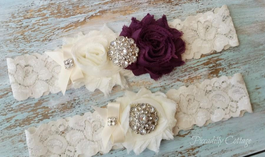Mariage - Eggplant Wedding Garter, Wedding Garter Set, Bridal Garter, Lace Garter, Custom Garter, Toss Garter Included