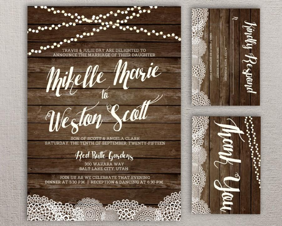 Mariage - Rustic Barnwood & Lace Doily - Twinkle String Light - DIY Wedding Invitation Set Design - RSVP, Thank You Card - Custom PRINTABLE