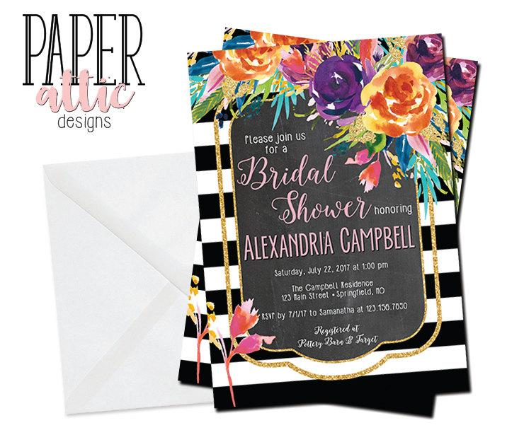 chalkboard bridal shower invitation gold wedding invitations fun invites colorful shower invitations kraft baby shower bs3