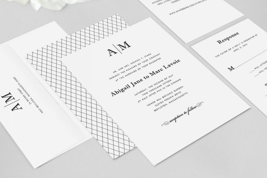 Mariage - Monogram Wedding Invitation - Abigail - Wedding Invitation Set, Simple Wedding Invitation - Deposit to Get Started