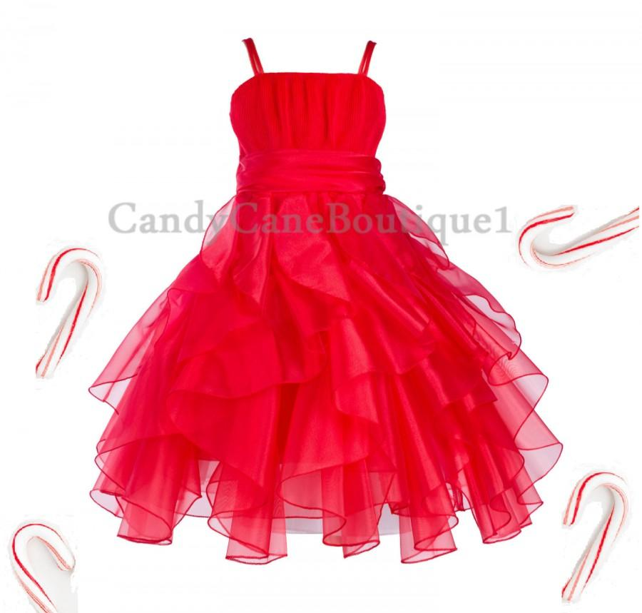 Mariage - Elegant Red Wedding Bridesmaid Handmade Organza Style Flower Girl dress Toddler Junior Pageant Recital Birthday Kids Holiday Christmas EY25
