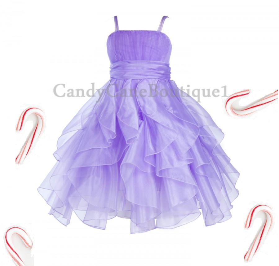 Mariage - Lilac Purple Wedding Bridesmaid Handmade Organza Style Flower Girl dress Toddler Junior Pageant Recital Birthday Kids Holiday Christmas EY25