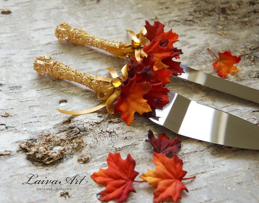 Wedding - Fall Wedding Cake Server Set & Knife Gold Fall Leaves Thanksgiving Wedding Cake Cutter Cake Cutting Set