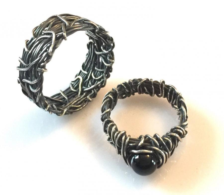His And Hers Wedding Rings, Matching Wedding Bands, Vintage Wedding Ring  Sets, Gothic Wedding Rings, Matching Couples Jewelry, Onyx Rings