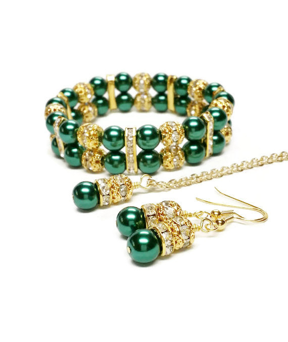 Wedding - Emerald Green Pearl Necklace Set / Bridesmaid Jewelry / Green and Gold Wedding / Pearl Wedding Jewelry / Bridal Jewelry / Green Wedding
