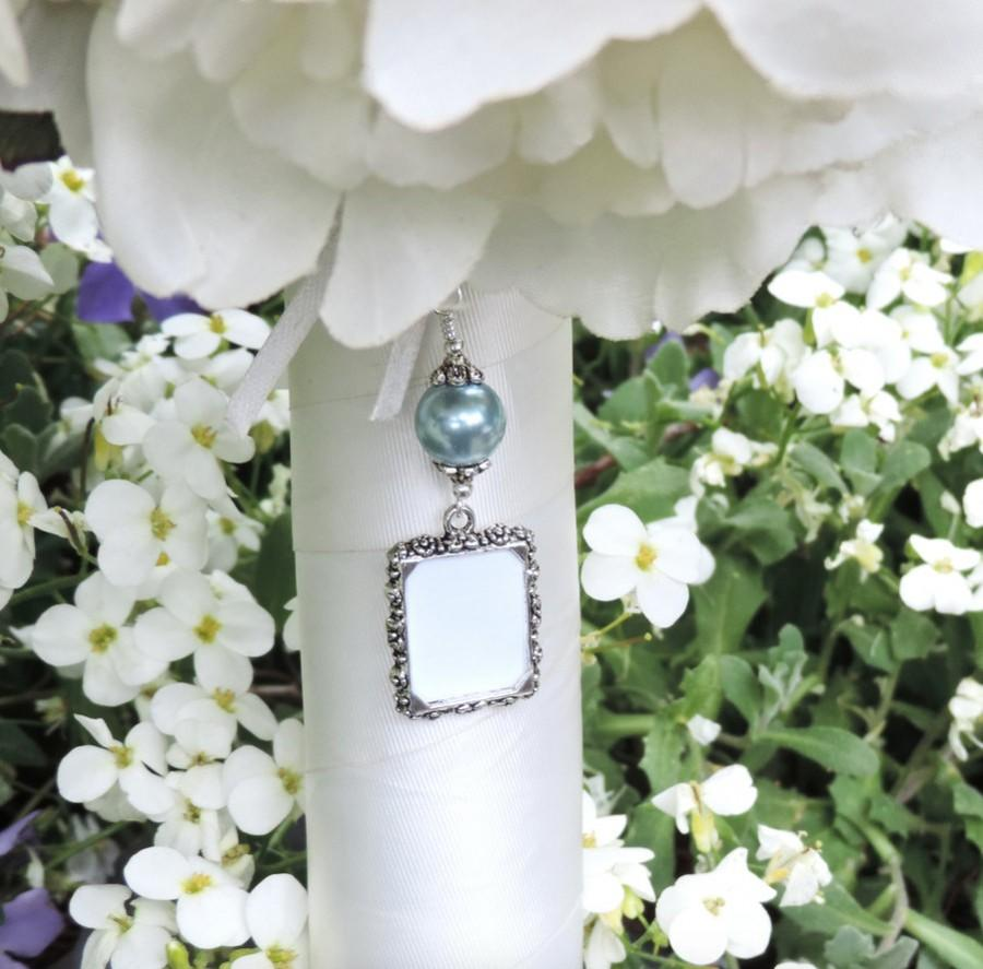 wedding bouquet charm with slate blue shell pearl and small picture frame something blue bridal bouquet charm bridal shower gift