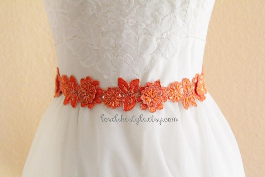 Mariage - Orange Beaded Flower Lace Sash , Orange Lace Headband, Bridal Orange Sash Belt , Bridesmaid Sash, Flower Girl Sash / SH-08