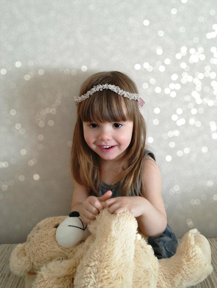Mariage - Flower girl head band, Flower girl gift, Flower girl headpiece, Kids halo, Childrens hair wreath, Kids hair piece, Toddler crystal circlet