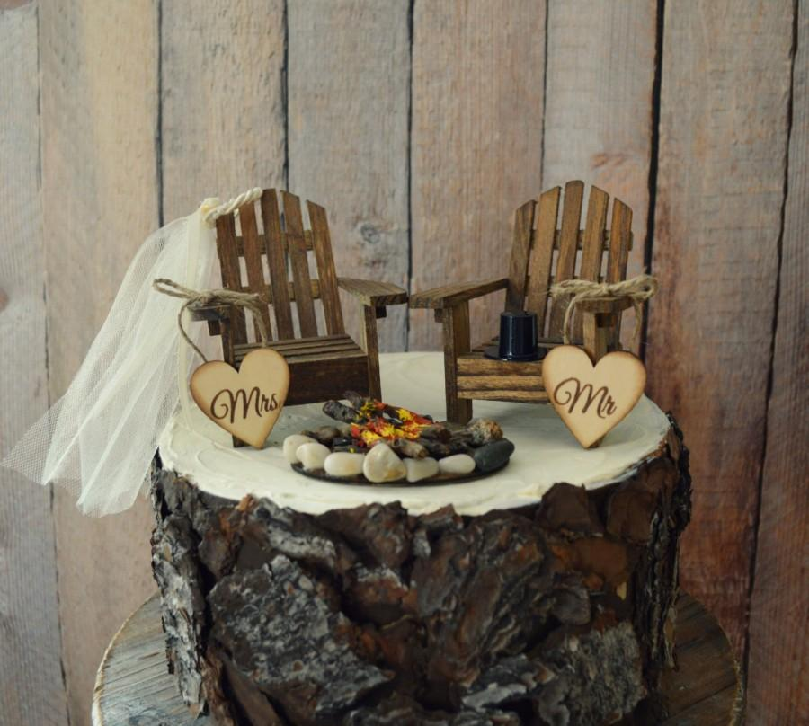 Country Adirondack Chair Wedding Cake Topper Camping Fishing Lake Themed Tent Hunting Groom Campfire Bride And Mr Mrs Sign