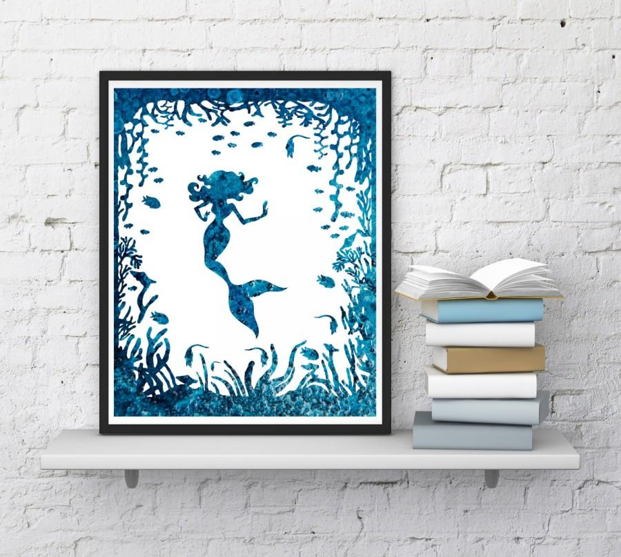 Mermaid Print, Nursery Decor, Mermaid Wall Art, Blue Mermaid, Mermaid Art,  Mermaid Watercolor, Printable, Digital Art, InstantDownloadArt1