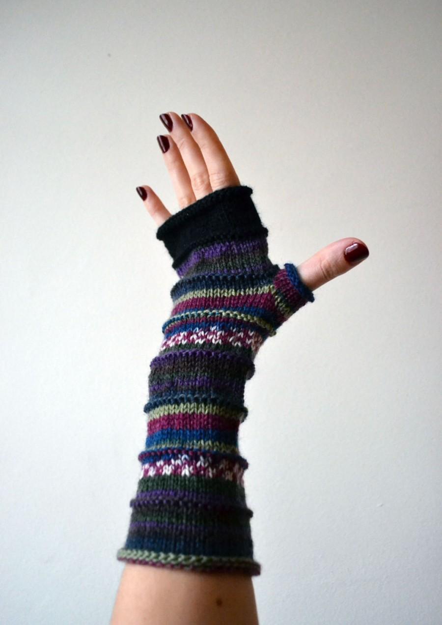 Purple Fingerless Gloves - Knit Fingerless Gloves - Fashion Gloves ...