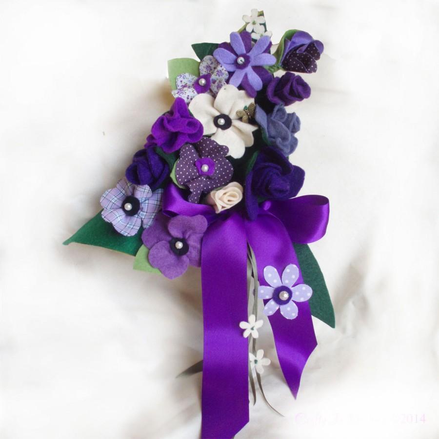 Hochzeit - Fabric Flowers Bouquet, Bespoke Wedding Bouquet, Purple Bouquet, Bridal Bouquet, Made to Order, Cotton Anniversary Gift, Alternative Bouquet