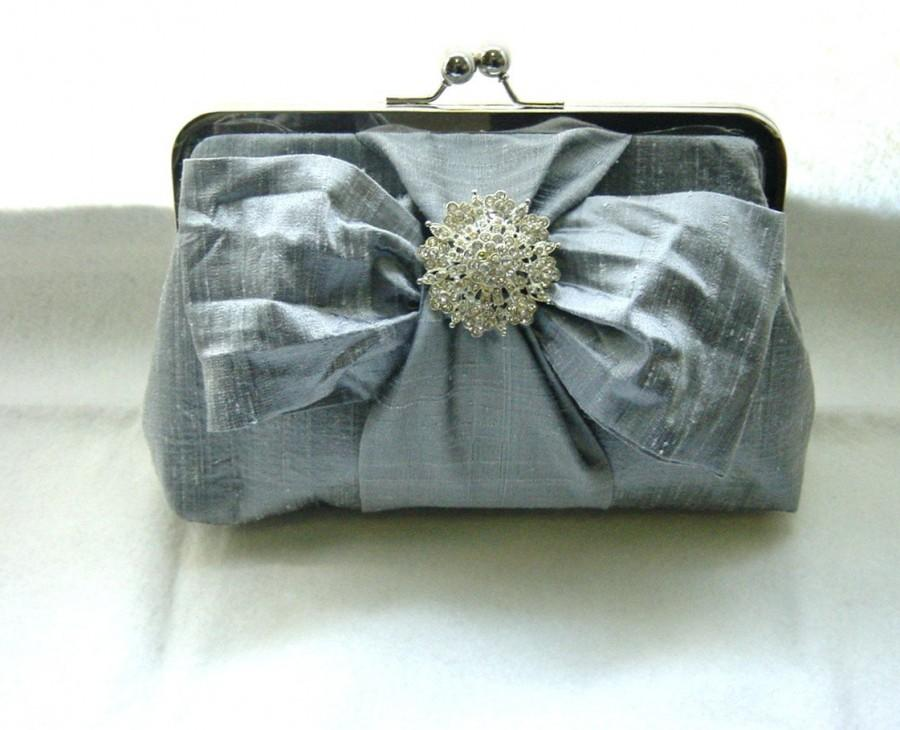 Mariage - Bridal Clutch - Wedding Clutch - Bridemaids Clutch - Wedding Purse - Bridesmaids Gift - Wedding Gifts - Grey Clutch - Chloe Clutch