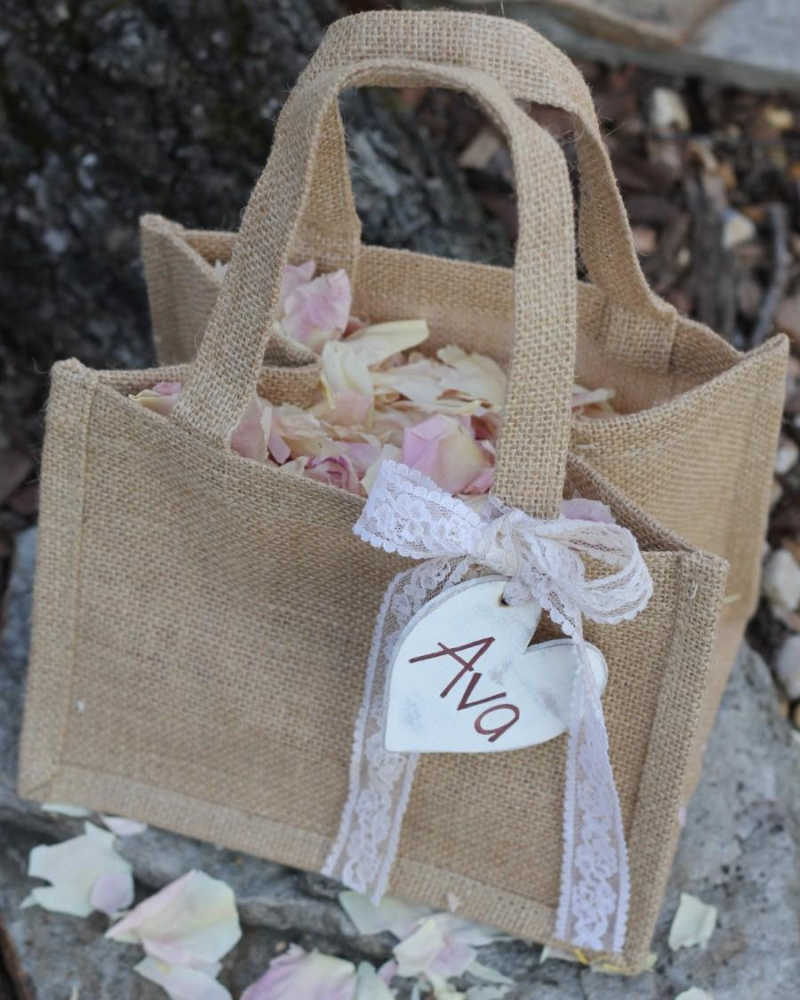 Bridesmaid Gift Bag Flower Girl Basket Personalized Heart Custom