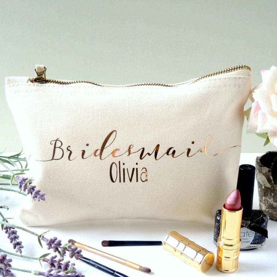 Mariage - Personalised Bridesmaid Make up bag. Bridesmaid accessory bag. Maid of honour make up bag.