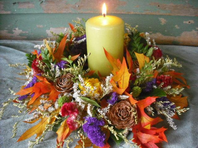 Dried flower candle ring or wreath centerpiece for your fall autumn dried flower candle ring or wreath centerpiece for your fall autumn nature themed wedding junglespirit Image collections