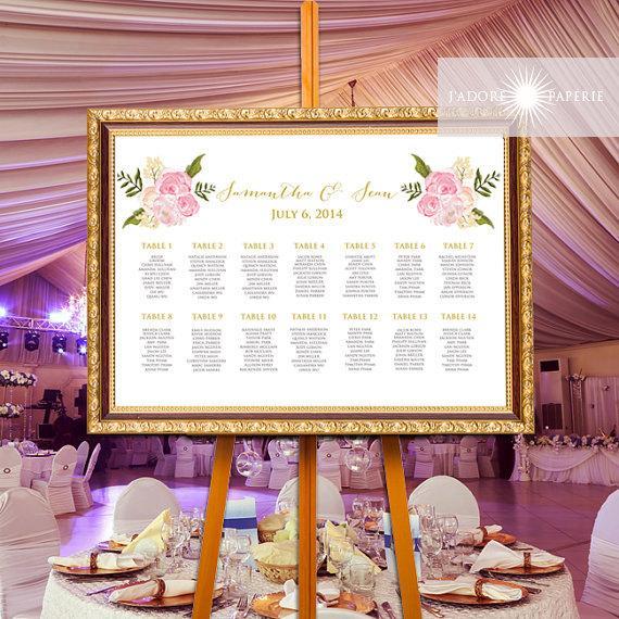 زفاف - Floral Seating Chart, Calligraphy Seating Chart, Printable Watercolor Seating Chart, Seating Chart, Elegant Seating Chart,jadorepaperie