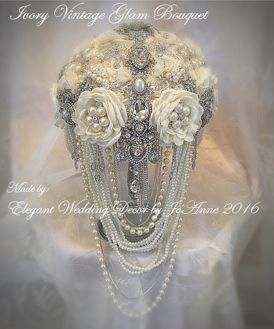 Wedding - Ivory Wedding Bridal Brooch Bouquet, DEPOSIT ONLY, Ivory Glam Brooch Bouquet with hanging Pearls, Custom Bouquet, Cascading Brooch Bouquet