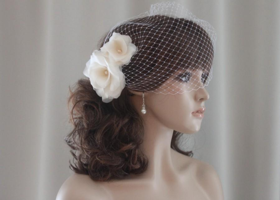 Mariage - Flower Hair Pins, Silk Organza Flowers, Birdcage Veil, White, Off White, Ivory, Blush Pink, Champagne-Style 207