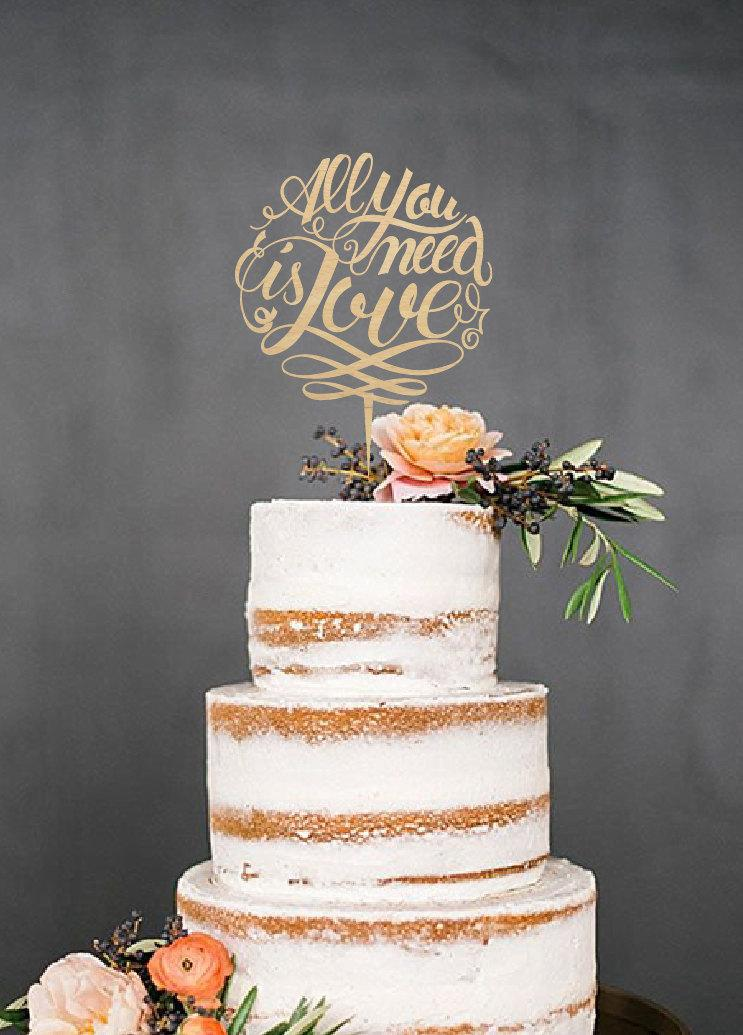 Mariage - Wedding Cake Topper, All you need is Love, Custom Cake Topper, Mr and Mrs Cake Topper, Unique Cake Topper, Personalized Cake Topper