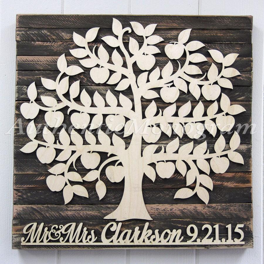 Personalized Wedding Guest Book 100 Wooden Sign Rustic Wall Decor Custom Family Tree For