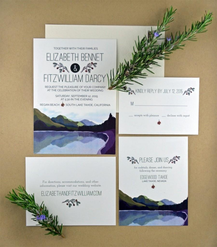 printable diy wedding invitation rustic elegant forest mountain