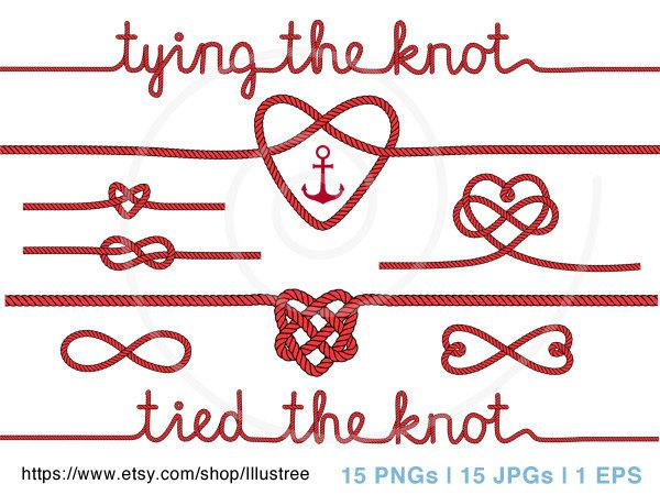 Mariage - tying the knot, wedding invitation, rope heart clip art, anchor, nautical clip-art, Valentine's day digital clipart, scrapbooking, download