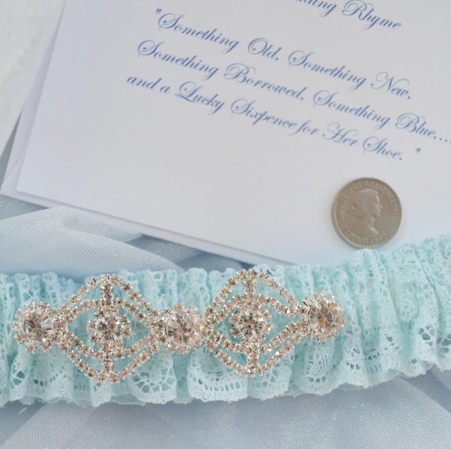 Mariage - Vintage Lace Wedding Garter, Wedding Garter, Sixpence with Card, , Bridal Garters, Robin Egg Vintage Lace Garter, Bridal Accessories, Bride