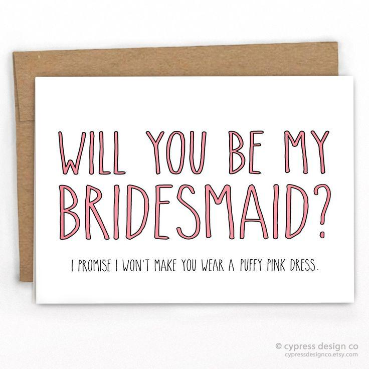 Mariage - Bridesmaid Fluffy Pink Dress! Funny Wedding Card