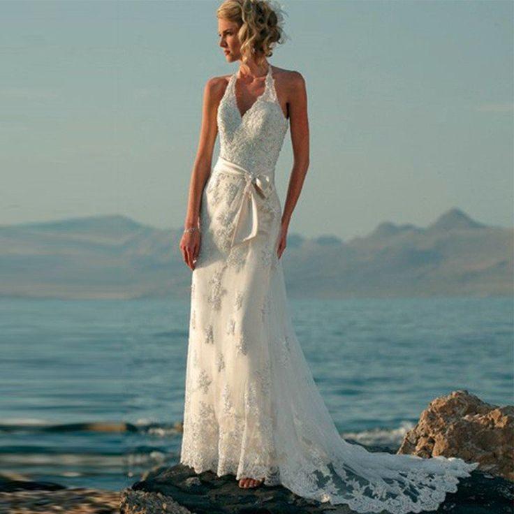 Wedding - Boho Lace Tank Style Beach Wedding Dress :: Autumn Collection
