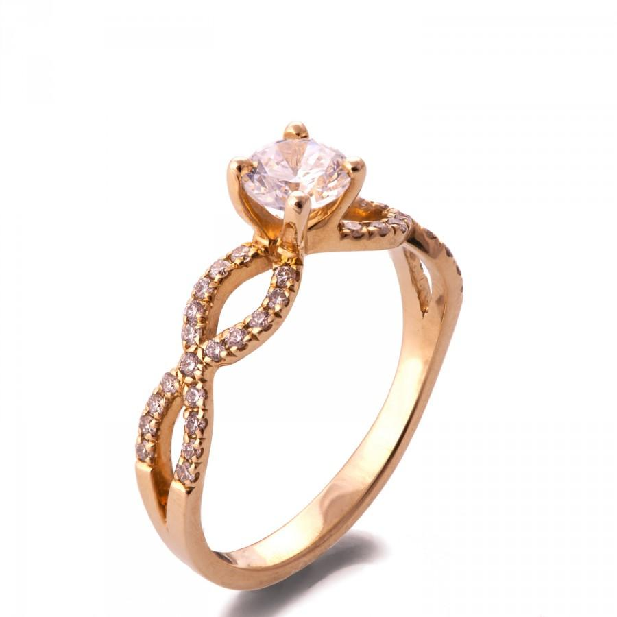 Mariage - Forever Brilliant Moissanite Ring, 14K Rose Gold and Moissanite engagement ring, Unique Engagement Ring, art deco, twist ring, R001