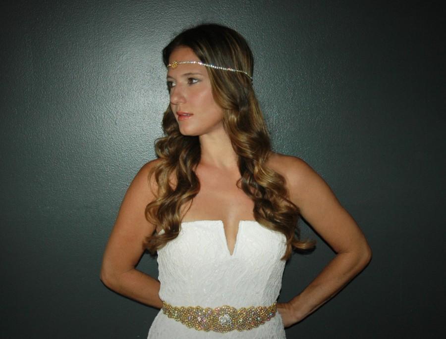 Mariage - Gold Bridal Sash, Gold Bridal Belt, Crystal Gold Bridal Sash, Diadema Novia, Gold Wedding Sash, Gatsby Gold Bridal Belt