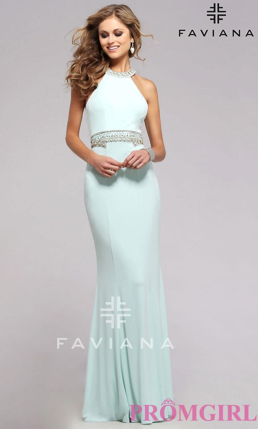 Mariage - High Neck Open Back Prom Dress by Faviana - Discount Evening Dresses
