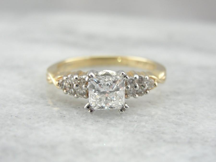 Vintage Princess Cut Diamond Engagement Ring Pretty Square Cut Diamond Simp