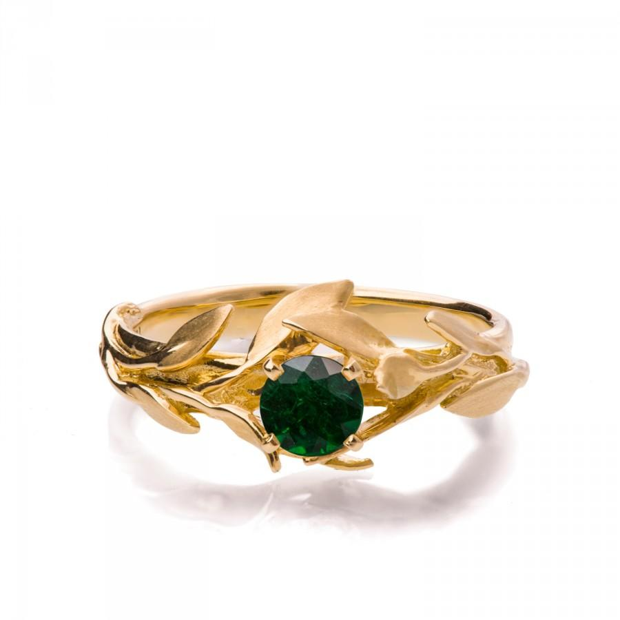 Свадьба - Leaves Engagement Ring No.4 - 18K Yellow Gold and Emerald engagement ring, engagement ring, leaf ring, May Birthstone, art nouveau, vintage