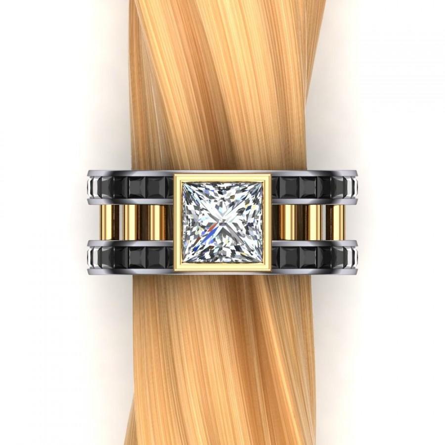 زفاف - Same Sex 2 Carat Diamond Engagement Ring in Two Tone Platinum and Gold- Masculine Ring