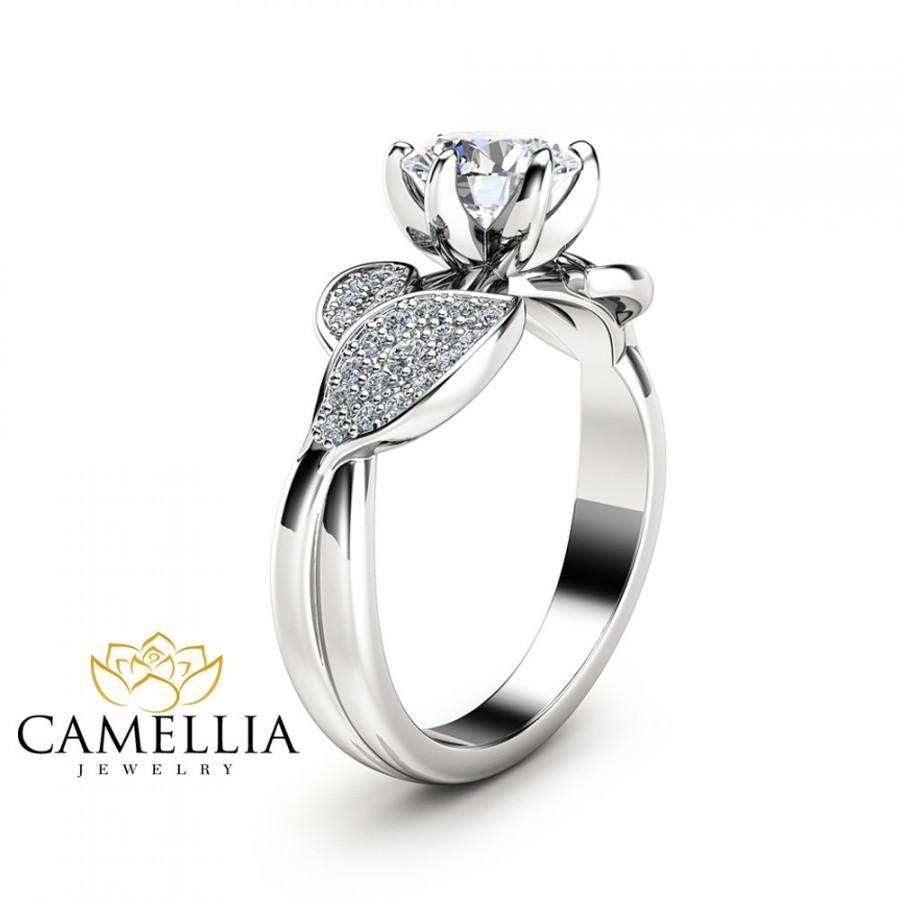Свадьба - Nature Inspired Moissanite Engagement Ring Leaf Engagement Ring 14K White Gold Moissanite Ring