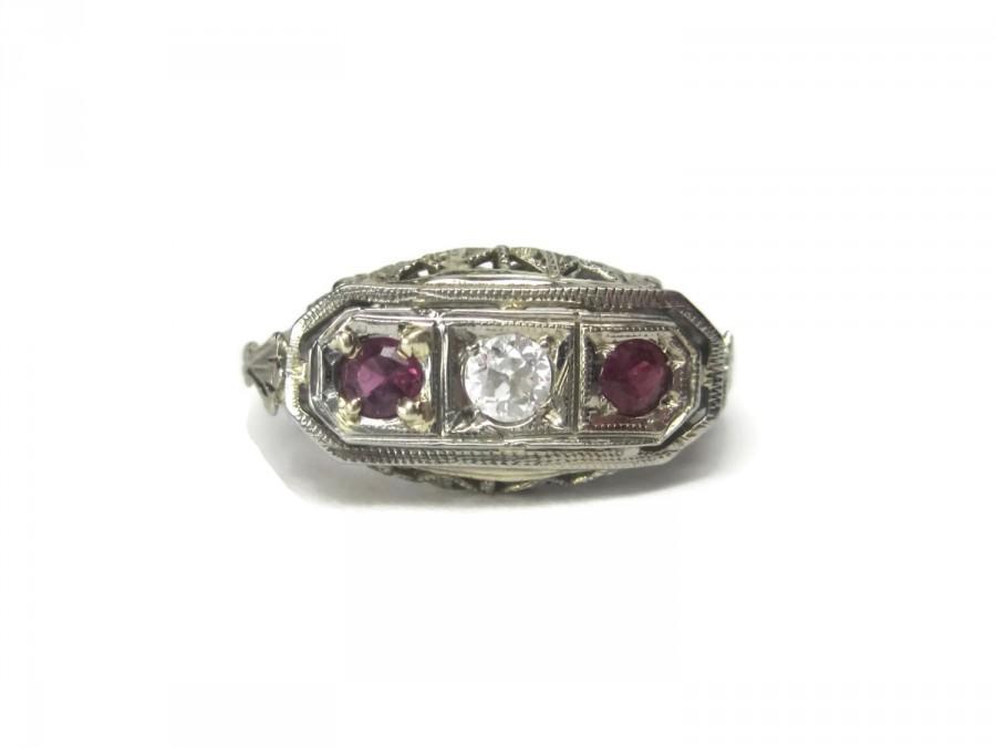 Wedding - Antique Art Deco 14K Ruby Diamond Filigree Wedding Ring Size 5