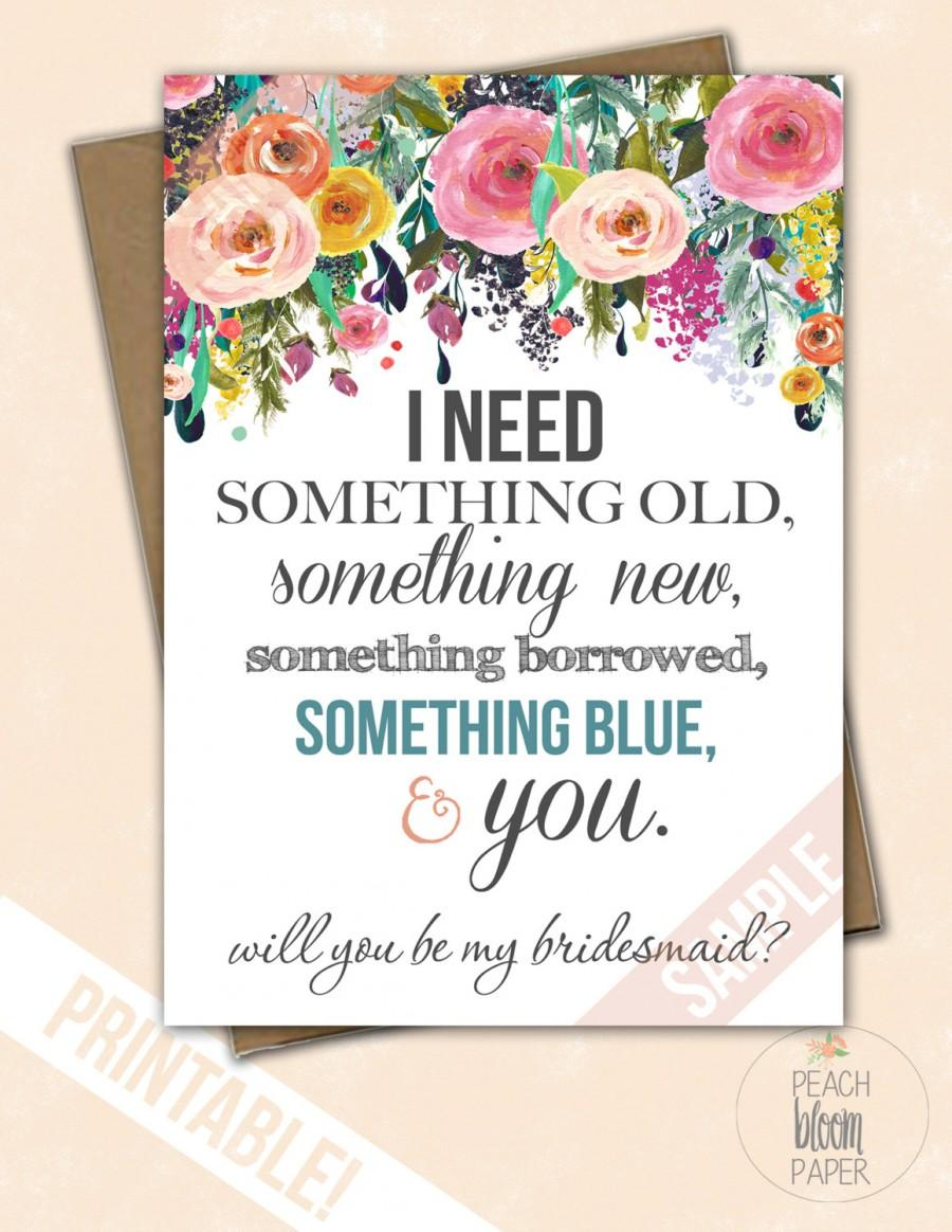 """Mariage - Something Blue Set of Will You Be My Bridesmaid """"The Bloom"""" Maid of Honor/Matron of Honor/Flower Girl Files(4 Included DIY Wedding Custom"""
