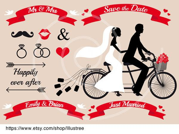 Mariage - Wedding invitation, bride and groom on tandem bicycle, save the date, just married, Mr & Mrs, digital clip art set, ribbons, card, download