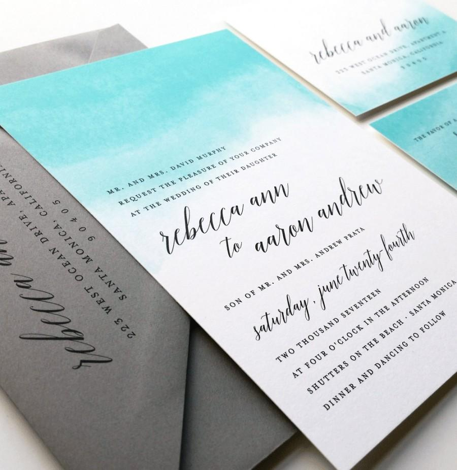 Mariage - NEW Rebecca Teal Watercolor Wedding Invitation Sample - Destination Aqua Blue Watercolor Beach Wedding Invitation