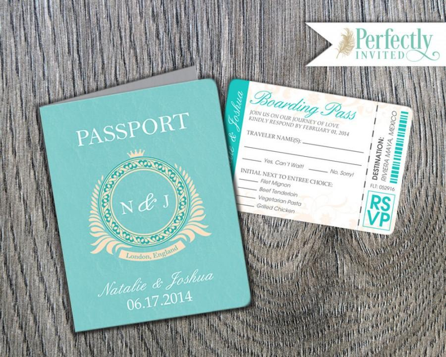 Passport Wedding Invitation, Classic Style Wedding Invitation, Beach ...