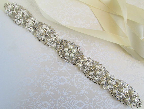 Sale Wedding Sash Pearl Bridal Belt Rhinestone Sash Silver