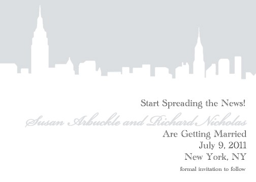 Mariage - New York City NYC Skyline Wedding Save the Dates / Invitations -- Customizable