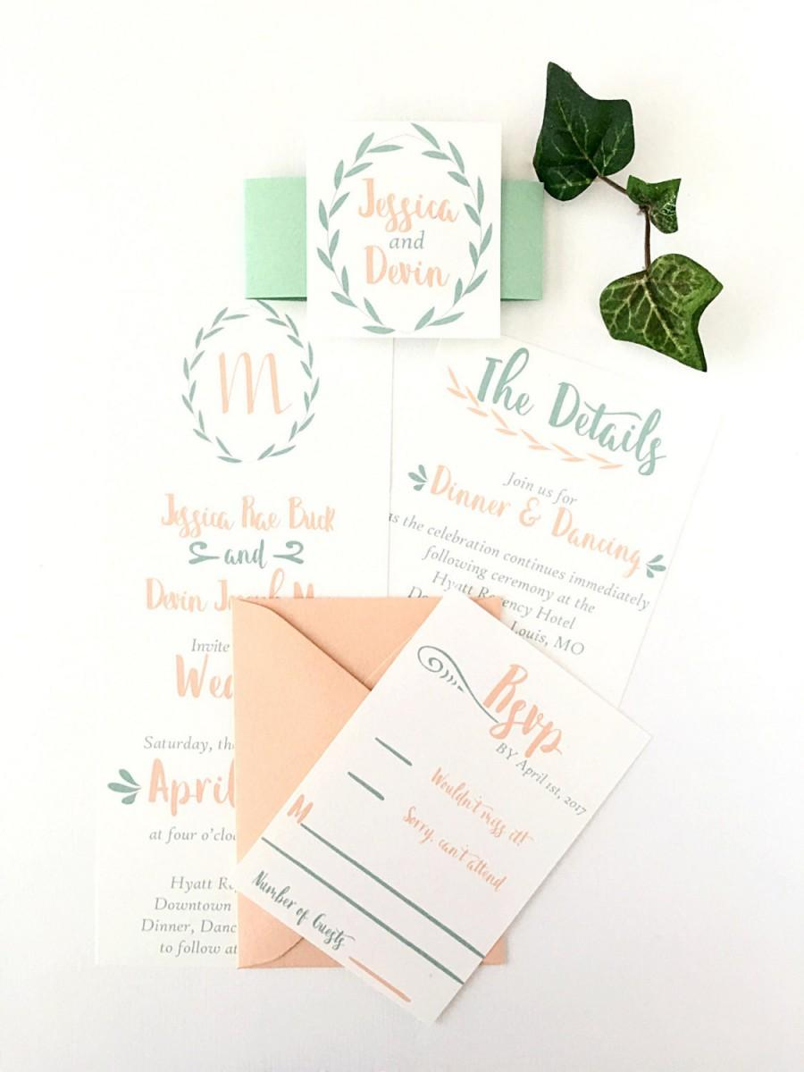 Custom Greenery Mint And Peach Wedding Invitation Suite Spring