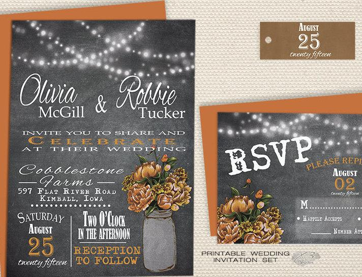Hochzeit - Rustic Chalkboard Wedding Invitation