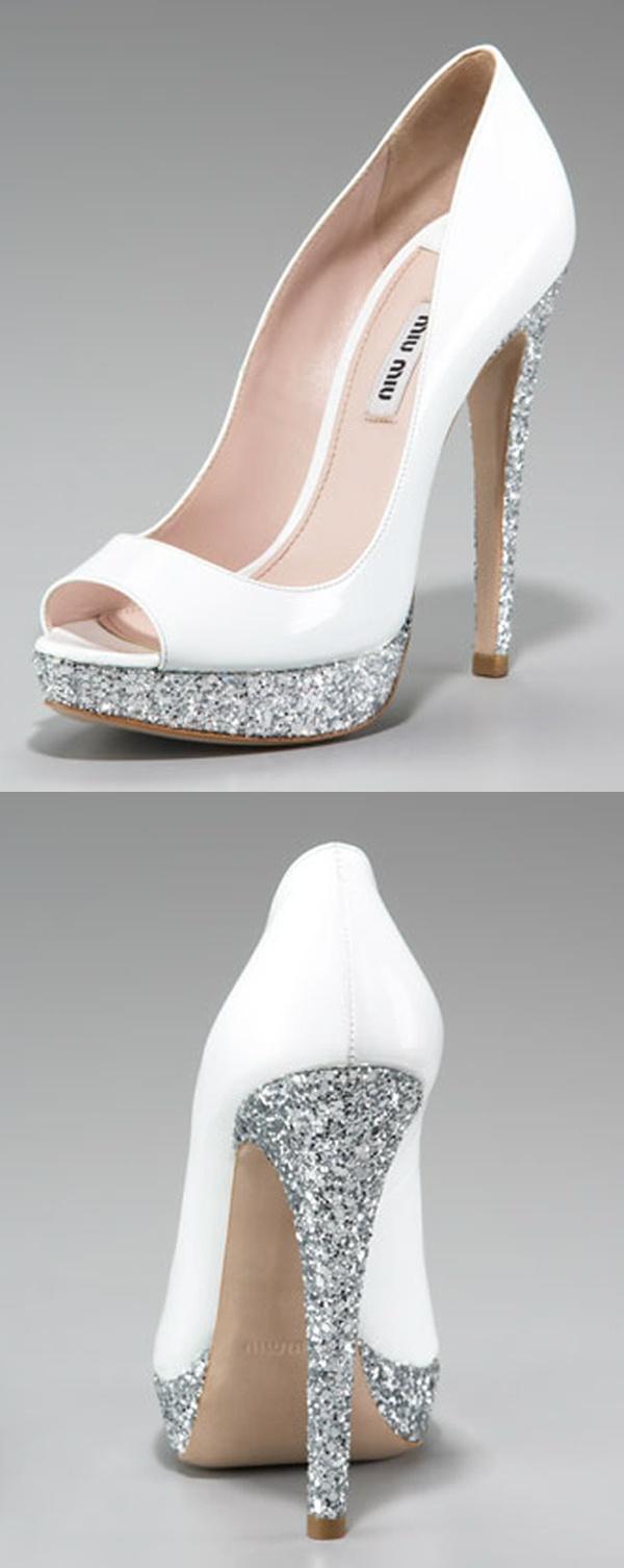 Wedding - Glitter-Heel Patent Pump