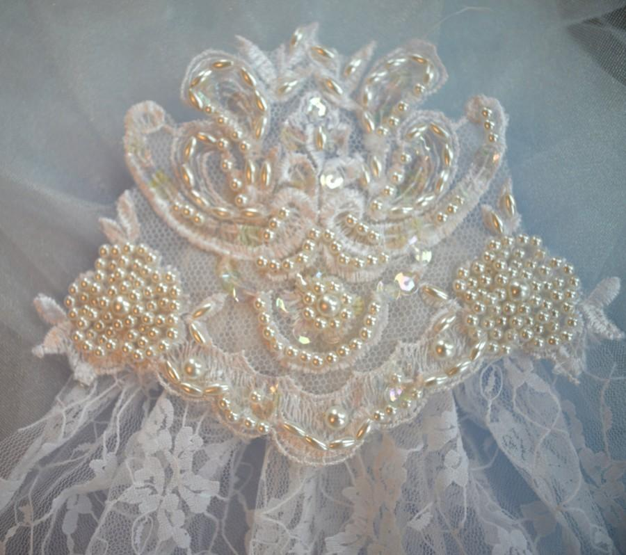 Mariage - OOAK, Wedding Veil, Short Wedding Veil, Weddings,  Unique Veils, Unique Veils, Ivory Veils, Weddings, Veil, Vintage Lace &  Pearl Head Piece