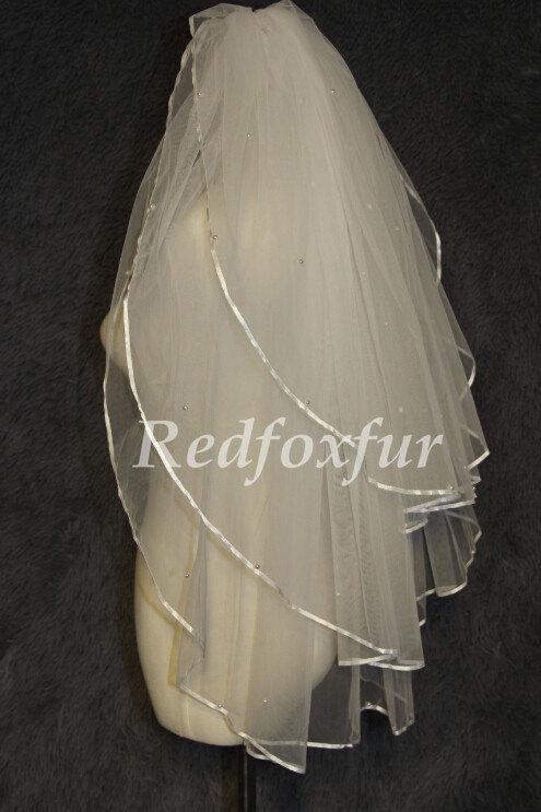 Mariage - 3 Tier Veil,white ivory Veil,Wedding veil,Bridal veil,With comb,Beads Veil